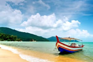 This image shows a Beach Scene in Penang, Malaysia