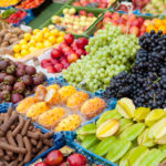 market with fresh fruits, healthy eating from the farmers